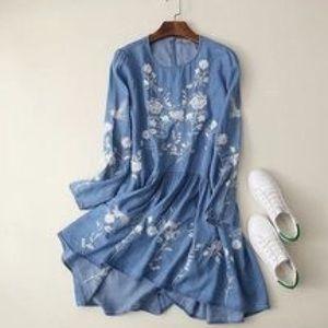 Goodnight Macaroon denim embroidered dress